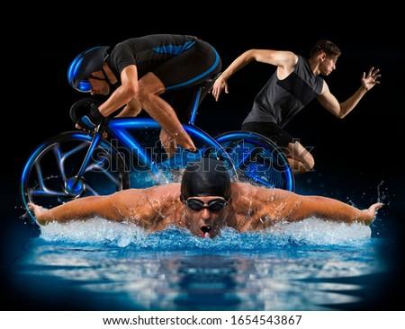 Triathlon sport collage. Man running, swimming, biking for competition race black background