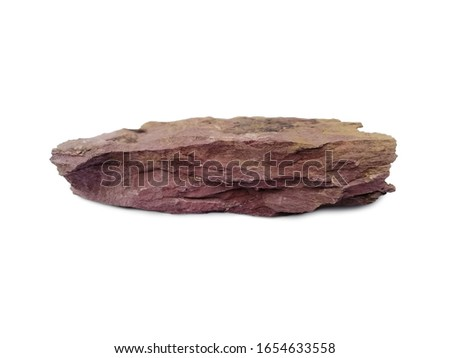Red shale isolated on white background. Shale is a fine-grained sedimentary rock that forms from the compaction of silt and clay-size mineral particles.  #1654633558