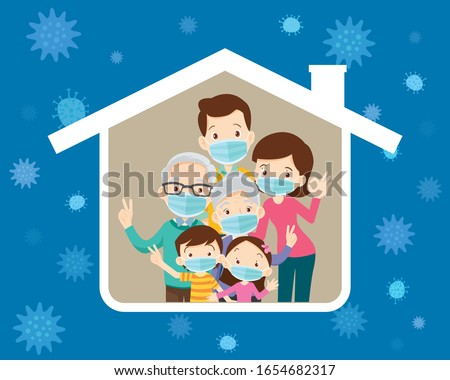 big family stay at home wearing a surgical mask to prevent virus Wuhan Covid-19 in house icon Grandfather,Grandmother,Dad, mother, son, daughter under the roof of the house. #1654682317