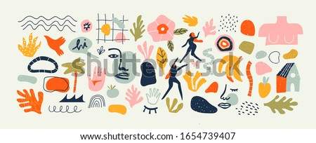 Set of trendy doodle and abstract nature icons on isolated white background. Big summer collection, unusual organic shapes in freehand matisse art style. Includes people, floral art and texture bundle #1654739407