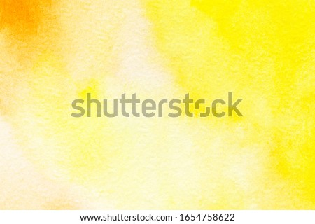 Yellow orange abstract watercolor splashing background business card with space for text or image, hand painted on paper. #1654758622
