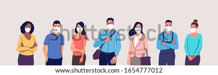 People in protective medical face masks. Men and women wearing protection from virus, urban air pollution, smog, vapor, pollutant gas emission. Vector illustration. Royalty-Free Stock Photo #1654777012