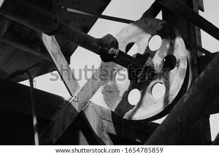 black and white machine photo