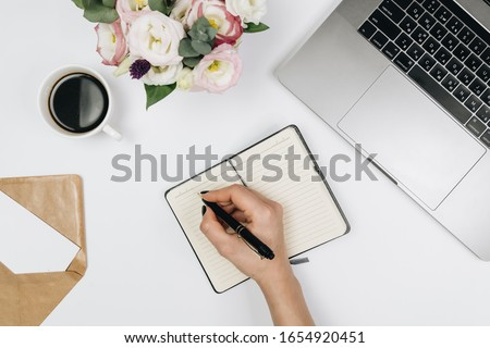 Working place with laptop. White background  #1654920451