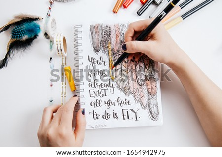 Hand lettering workspace artist on white background. paint, palette, watercolor, brushes, paper. Top view lettering. hand lettering quotes. #1654942975