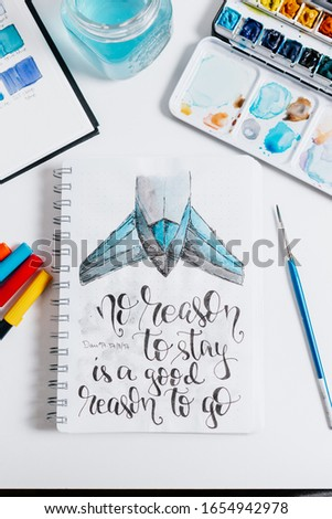 Hand lettering workspace artist on white background. paint, palette, watercolor, brushes, paper. Top view lettering. hand lettering quotes. #1654942978