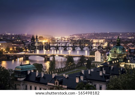 The skyline of Prague at night, Czech Republic Royalty-Free Stock Photo #165498182