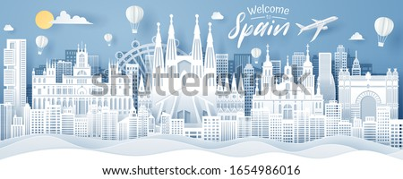 Paper cut of Spain landmark, travel and tourism concept, eps 10 vector. #1654986016