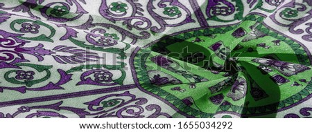Texture background pattern , silk fabric, moderate soothing colors, royal monogram pattern, white, green azure colors on the fabric. your design will be steeped in the spirit of the Middle Ages #1655034292