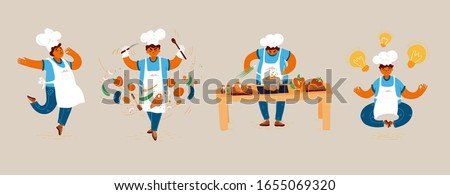 Vector cartoon illustration of home and small restaurant male man cook concepts. Creating Ideas for Cooking, conducting cook process, chef man showing sign for delicious, with taste approval gesture. Royalty-Free Stock Photo #1655069320