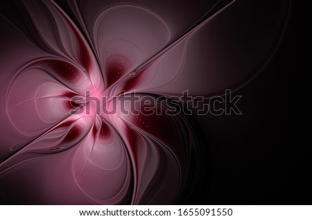 Burgundy pink fractal flower on a black background with copy space