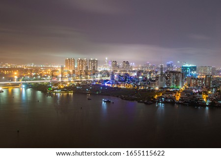 Ho Chi Minh city, Vietnam 15th 2016: high view of Sai Gon riverside  #1655115622