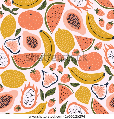 Exotic fruit seamless pattern in hand-drawn style. Vector repeat background for colorful summer fabric.  Royalty-Free Stock Photo #1655125294