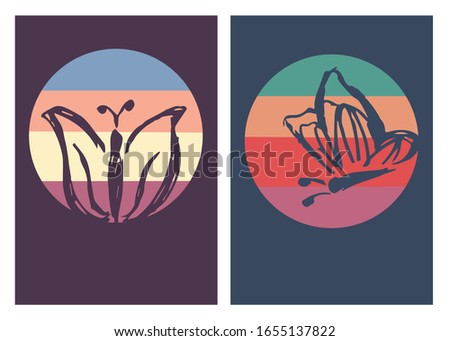 Vector Illustration of Butterfly Poster with Vintage Colors and Background. This is Perfect for Card, Decoration, and Layout. #1655137822