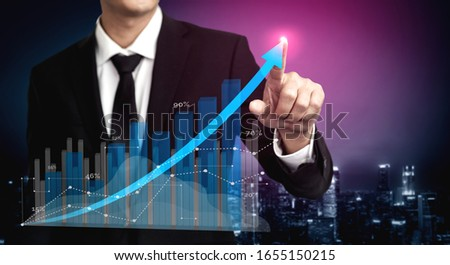 Double Exposure Image of Business and Finance - Businessman with report chart up forward to financial profit growth of stock market investment. #1655150215