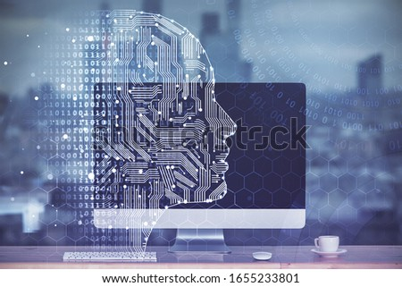 Double exposure of table with computer and brain hologram. Data innovation concept. #1655233801