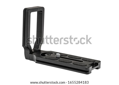 L Bracket. Camera L Bracket for Attaching to Any Camera Enabling Rapid Switching from Landscape to Portrait Orientation Photography. Clipping Work Path included in JPEG Isolated on White Background