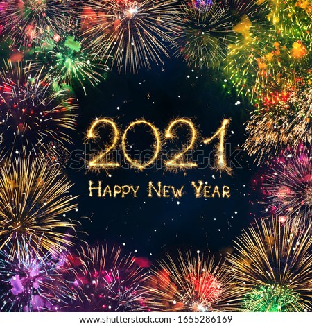 Happy New Year 2021. Greeting card with colorful fireworks and Sparkling burning text Happy New Year 2021. Beautiful square holiday Web banner  #1655286169