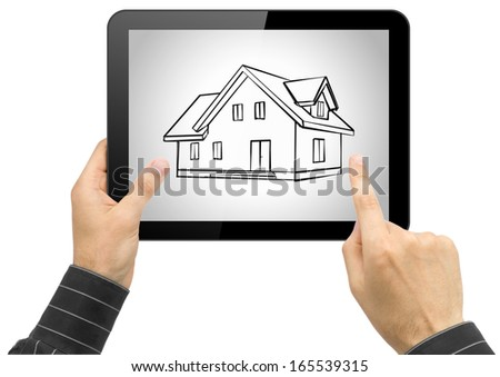 Black tablet pc with house sketch project in hands on white background
