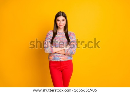 Portrait of elegant attractive girl successful worker cross hands ready work decide decisions wear casual style outfit isolated over bright color background #1655651905