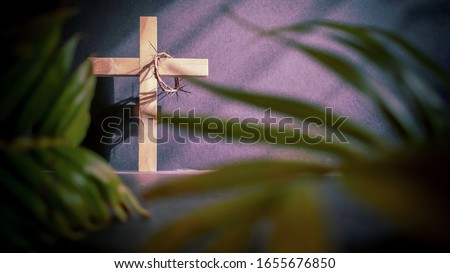 Lent Season,Holy Week and Good Friday concepts - image of wooden cross in vintage background  Royalty-Free Stock Photo #1655676850
