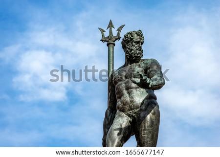 Closeup of the bronze statue of Neptune (1566), Roman God, fountain in Piazza del Nettuno, Bologna, Emilia-Romagna, Italy, Europe. Artist Giambologna (1529-1608)