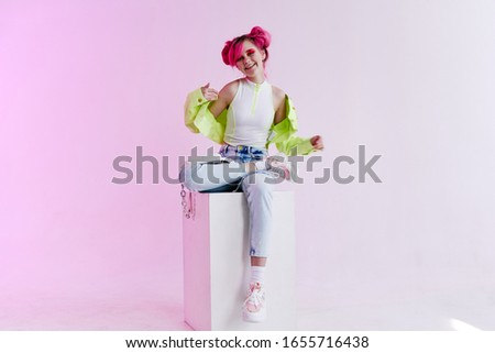 young women in bright clothes isolated background