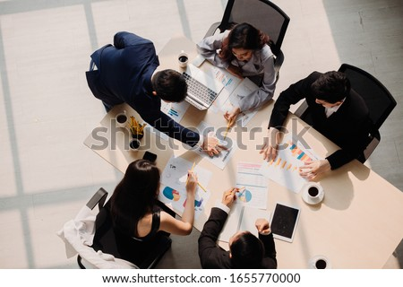 Marketing Analysis Accounting Team Teamwork Business Meeting Concept. Top view in office while people having a meeting #1655770000
