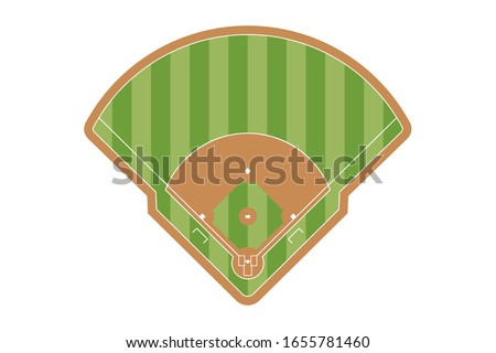 Baseball field icon. Flat striped baseball field vector illustration for web design isolated on white background.