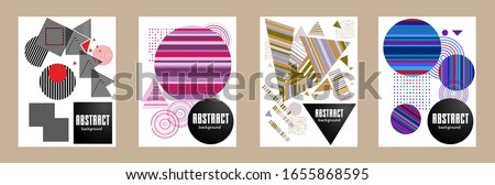 Covers templates set with bauhaus, memphis and hipster style graphic geometric elements. Applicable for placards, brochures, posters, covers and banners. #1655868595