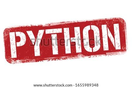Python sign or stamp on white background, vector illustration