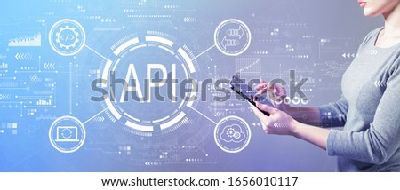 API - application programming interface concept API concept with business woman using a tablet computer