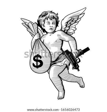 Angel with a bag of money and a gun. Can be used as a sketch of a tattoo.