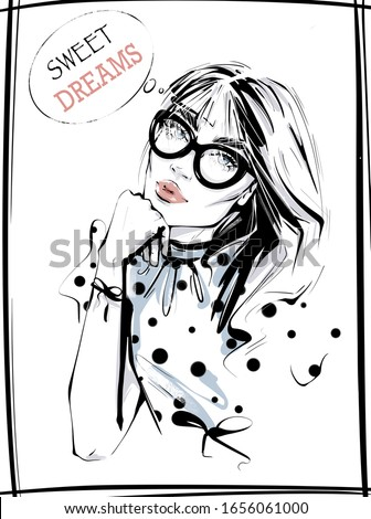 Hand drawn beautiful young woman in eyeglasses. Fashion woman in spotted shirt. Girl in fashion clothes. Sketch. Fashion illustration.