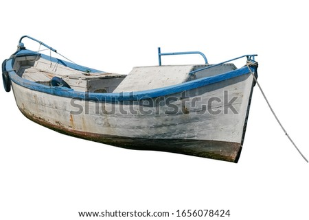 fisherman Old Boat Isolated On White Background. white boat with blue stripes. isolated.