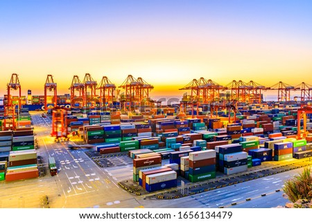 Shanghai,China - November 15,2019:Shanghai Yangshan Deepwater Port Container Cargo Terminal,Shanghai has become one of the world's largest container port. #1656134479