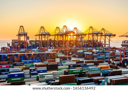 Shanghai,China - November 15,2019:Shanghai Yangshan Deepwater Port Container Cargo Terminal,Shanghai has become one of the world's largest container port. #1656136492