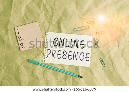 Word writing text Online Presence. Business concept for existence of an individual can be found via an online search Papercraft craft paper desk square spiral notebook office study supplies.