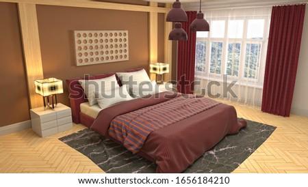 Bedroom interior. Bed. 3d illustration. #1656184210