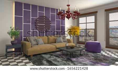 Interior of the living room. 3D illustration. #1656221428