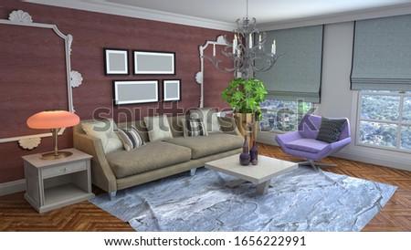 Interior of the living room. 3D illustration. #1656222991