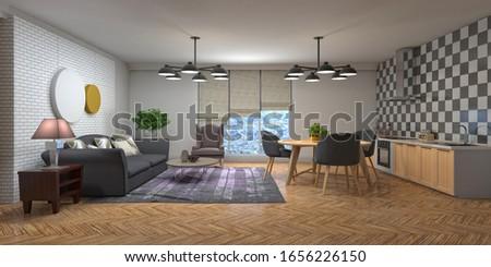 Interior of the living room. 3D illustration. #1656226150