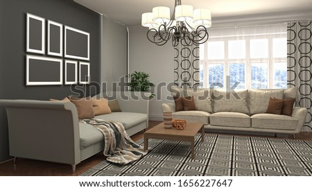 Interior of the living room. 3D illustration. #1656227647