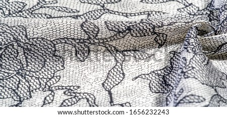 texture, background, pattern. Silk white fabric with lace patterns. This elastic lace trim can add a delicate touch to everything! Decorate your jewelry with your projects, crafts and Internet decor #1656232243