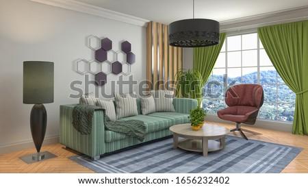 Interior of the living room. 3D illustration. #1656232402
