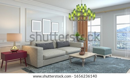 Interior of the living room. 3D illustration. #1656236140