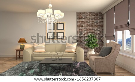 Interior of the living room. 3D illustration. #1656237307