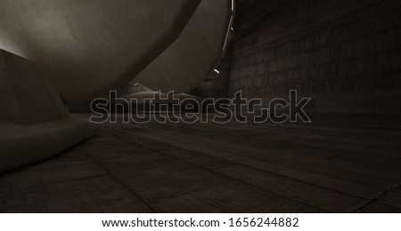 Abstract architectural concrete interior with discs. Neon lighting. 3D illustration and rendering. #1656244882