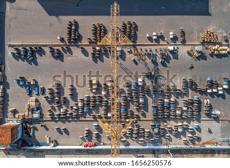 large strelarge street warehouse of electric cable from a bird's eye viewet warehouse of electric cable #1656250576