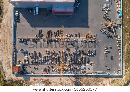 large strelarge street warehouse of electric cable from a bird's eye viewet warehouse of electric cable #1656250579